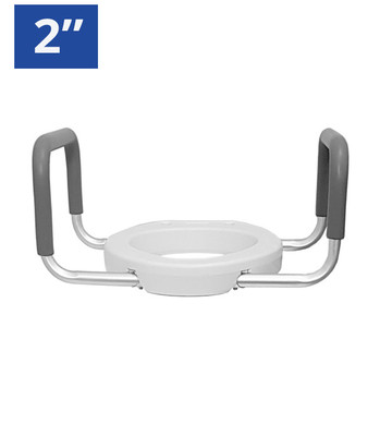 """2"""" ELONGATED RAISED TOILET SEAT WITH ARMS"""