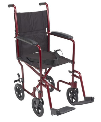"""ALUMINUM TRANSPORT CHAIR 19"""" RED FRAME DRIVE MEDICAL (AC1349)"""