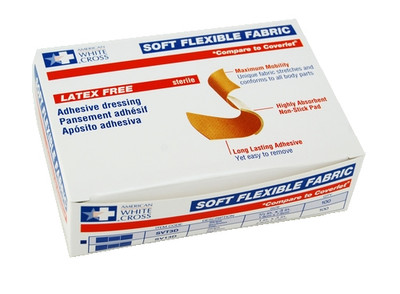 "FLEXIBLE ADHESIVE FABRIC BANDAGES PATCH 3/4"" X 3"""
