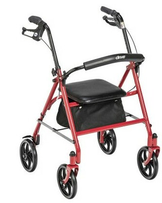 "DRIVE MEDICAL RED ROLLATOR 7.5"" WHEELS 10257RD (AC4904)"