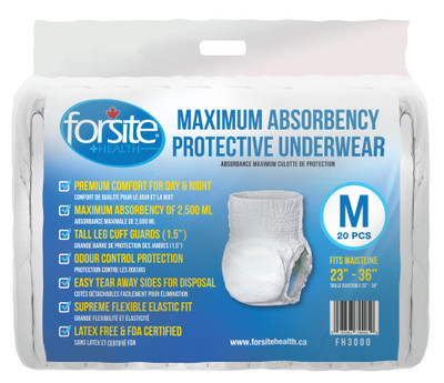FORSITE MAXIMUM ABSORBENCY PROTECTIVE UNDERWEAR (FH3000*)