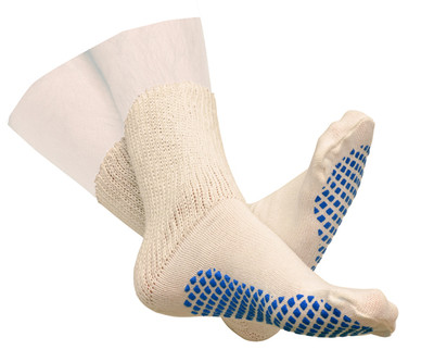 DIABETIC SLIPPER SOCKS WITH GRIP SOLES MENS WHITE SIZE 10 TO 13