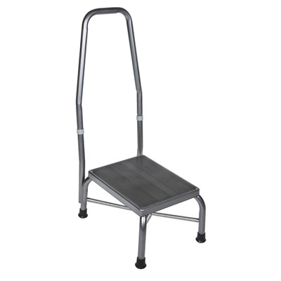 HEAVY DUTY BARIATRIC FOOTSTOOL WITH NON SKID RUBBER PLATFORM AND HANDRAIL
