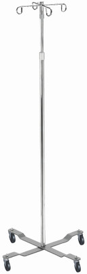 DRIVE MEDICAL ECONOMY REMOVABLE TOP I.P POLE 4 HOOK TOP CHROME