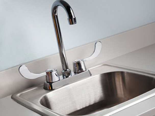 Clinton 022 Stainless Steel Sink and Gooseneck Faucet with Wing Levers