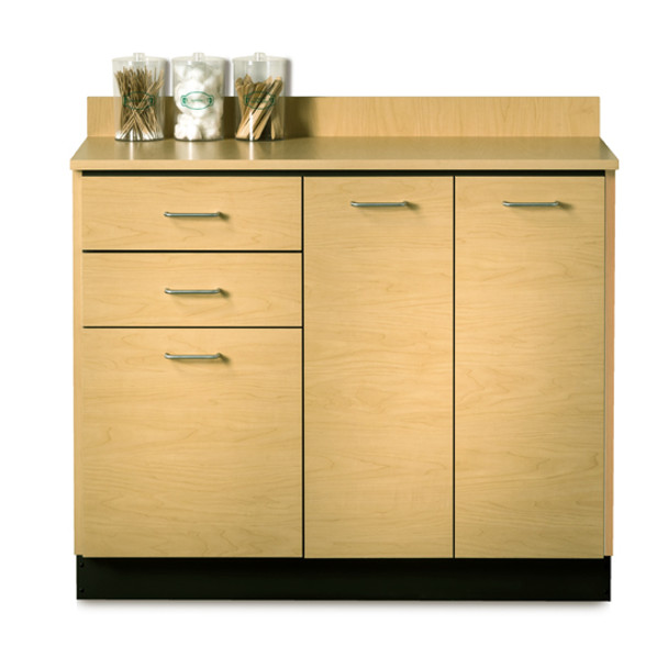 Clinton 8042 Base Cabinet w/3 Doors and 2 Drawers maple