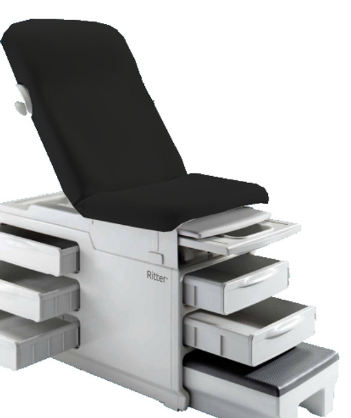 Midmark Ritter 204 Manual Examination Table w/Standard Upholstery spread out black