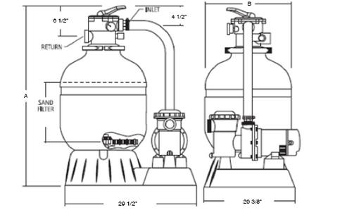 "Jacuzzi®| COMPLETE PUMP & SAND FILTER, 16"" L160-C-7, 1 HP SLR, 1-SPEED, 115V, 6' NEMA CORD | 94084953"