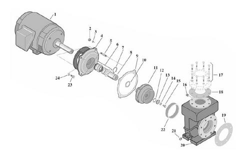 PENTAIR   Motor, 20 HP, 230/460V, 3 Phase   S28574
