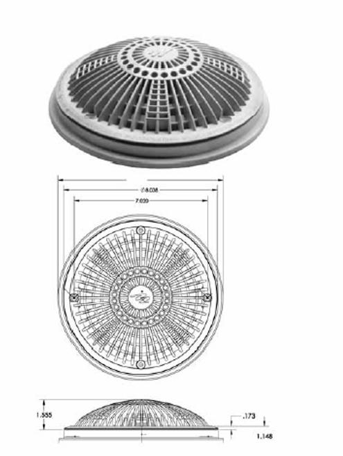 "WATERWAY | COMPLETE 8"" TRU FLOW FRAME & COVER, DARK GRAY |  640-1809-DKG V"