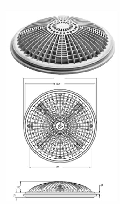 "WATERWAY | COMPLETE 10"" TRU FLOW FRAME & COVER, BLACK | 640-1901 V"