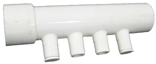 """CUSTOM MOLDED PLASTICS   1 1/2"""" SLIP X 1 1/2"""" SPG (4) 3/4"""" BARBS 2 PLUGS   21026"""