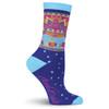 Laurel Burch Sun and Fish Blue Crew Socks