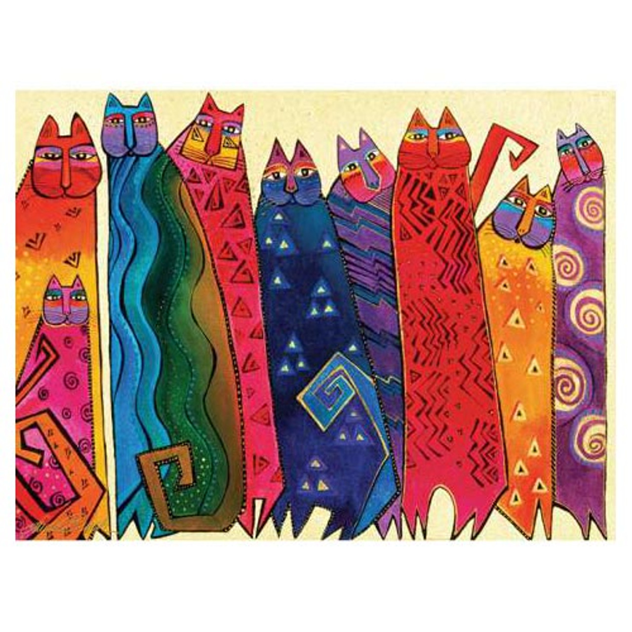 Canvas Santa Fe >> Laurel Burch Canvas Santa Fe Felines Cats 12x16 Wall Art Lb26002