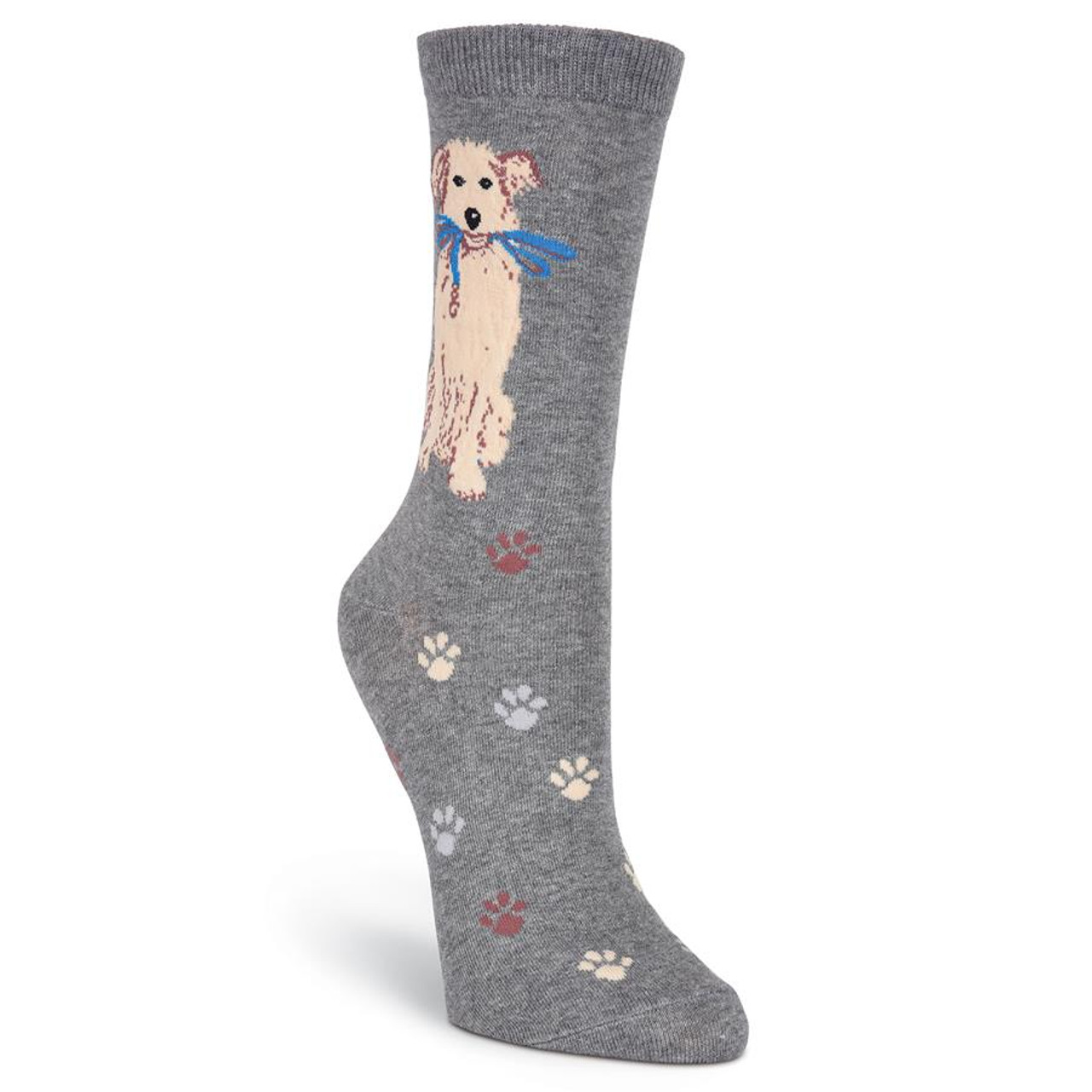"Dog Socks /""Dogs with Bones/"" Denim Heather"