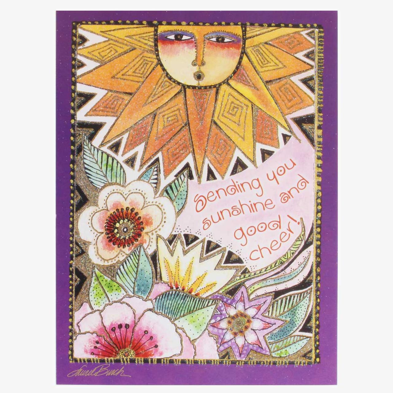Laurel Burch Greeting Card Happy Birthday Card Bright Hummingbirds New