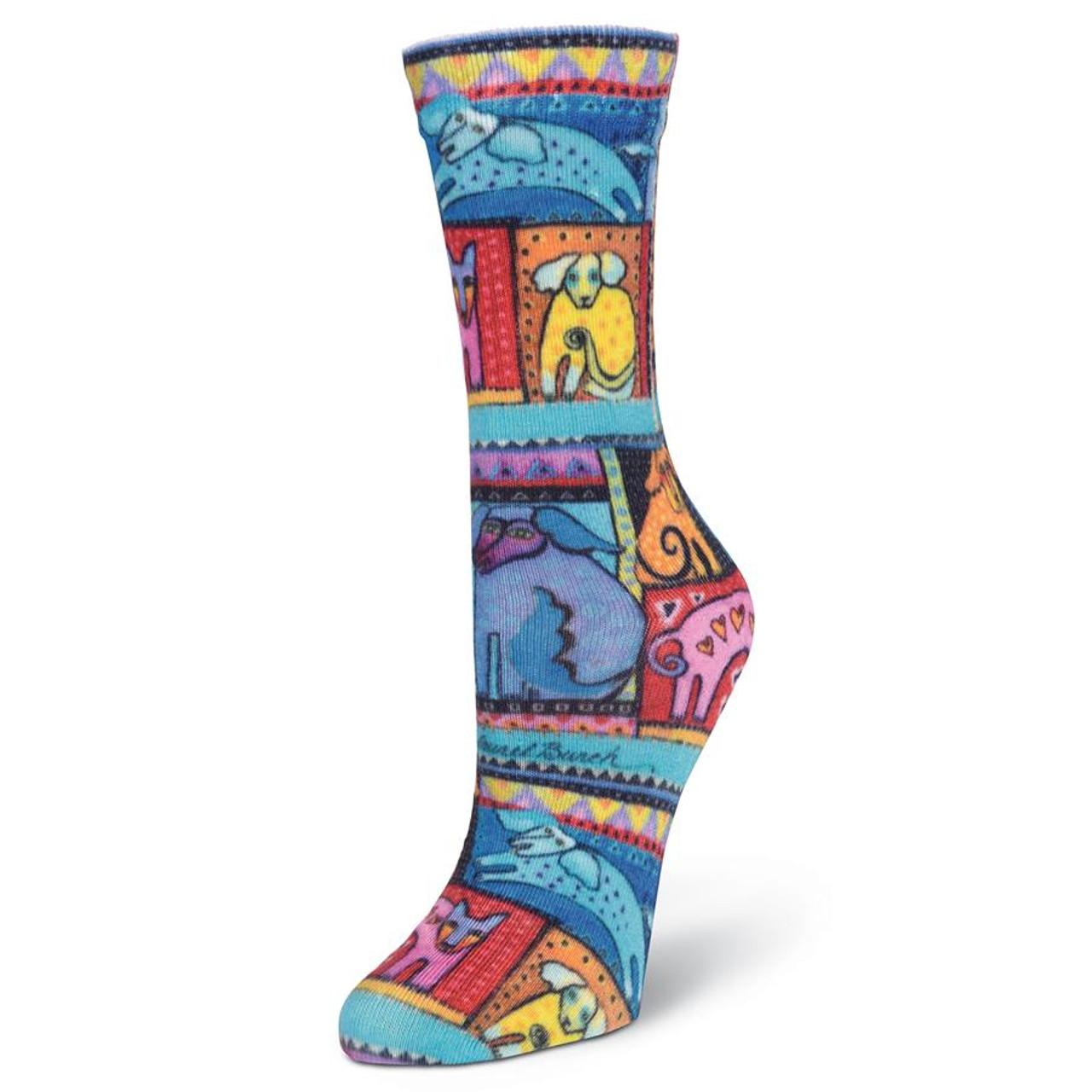 Laurel Burch Black Blue Dog /& Doggy Ladies Womens Crew Cotton BLend Socks New
