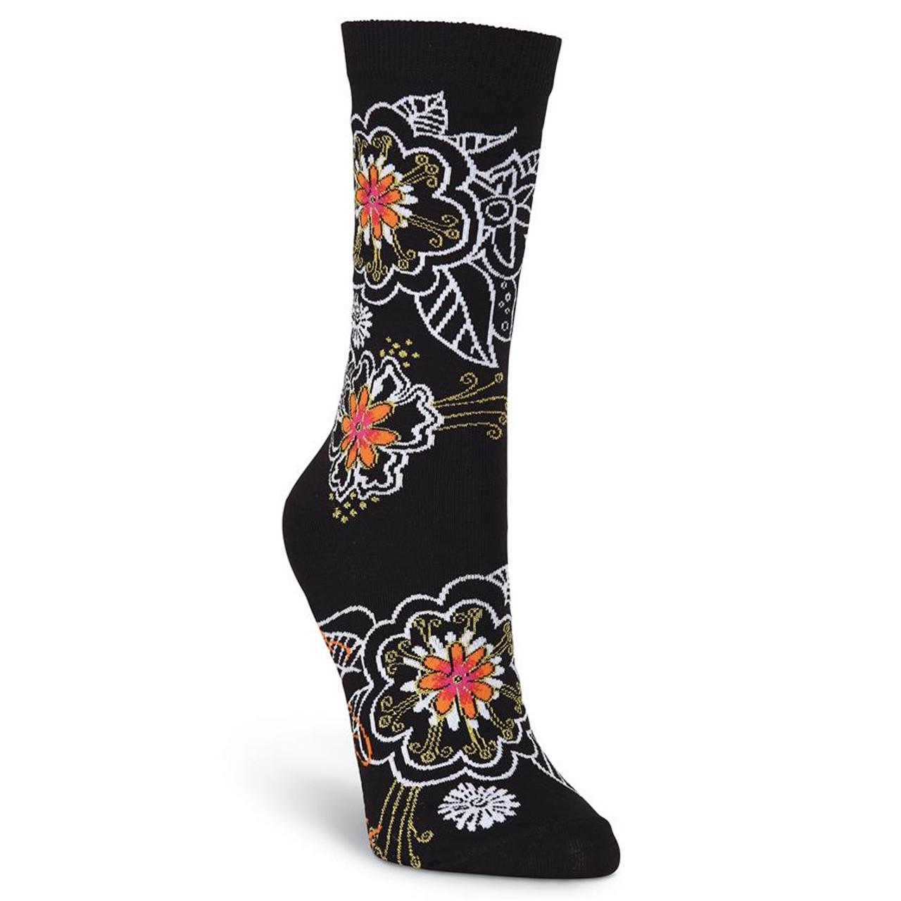 1 Pair Ladies SockShop Flowers Birds Music Women Leaves Printing Blend S Co W0B7