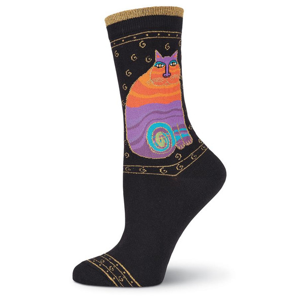 "Laurel Burch Socks  ""Rainbow Cats""   BLACK -  LB1033B"