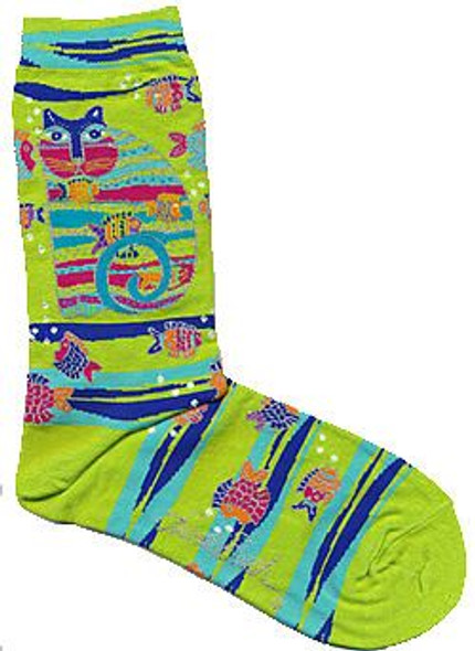 "Laurel Burch Socks ""Cat with Fish"" Lime -  LB1098L"