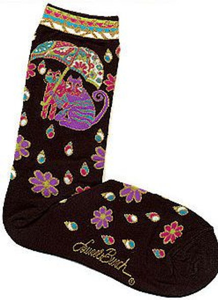 "Laurel Burch Socks ""Fairweather Friends"" Black -  LB1099B"