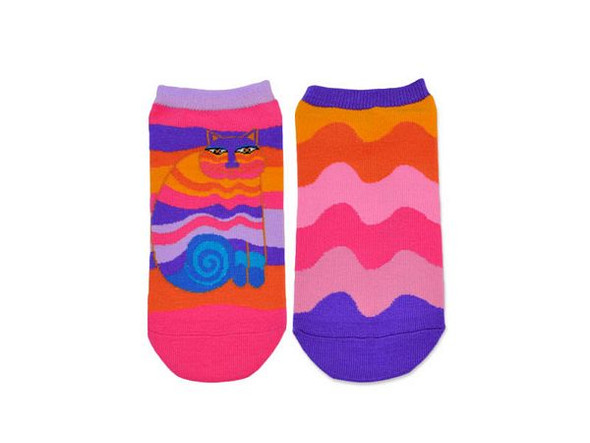 Laurel Burch Short Socks 2 Pair Pack - Rainbow Cat - LB1114-2
