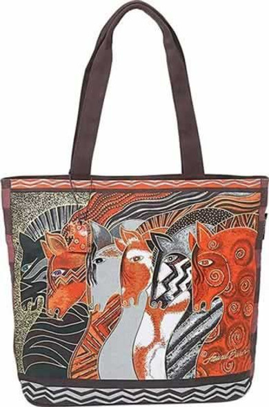 Laurel Burch Moroccan Mares Horse Large Square Handbag Tote - LB2010