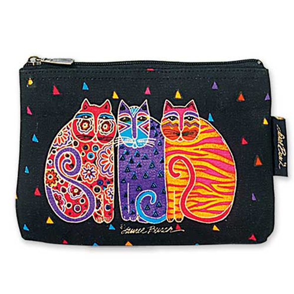 "Laurel Burch Cotton Canvas Cosmetic Bag ""Feline Friends"" - LB2090A"