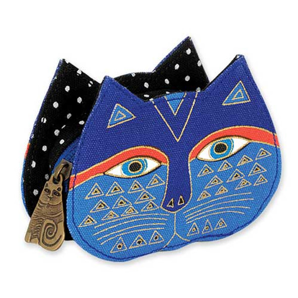 Laurel Burch Cat Face Dimensional Canvas Zip Coin Purse - LB4300C