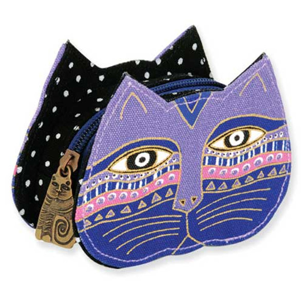 Laurel Burch Cat Face Dimensional Canvas Zip Coin Purse - LB4300E
