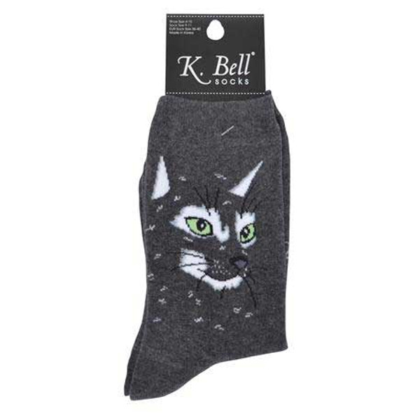 "Cat Socks ""Cat Face"" Charcoal Grey  F15H048-01"