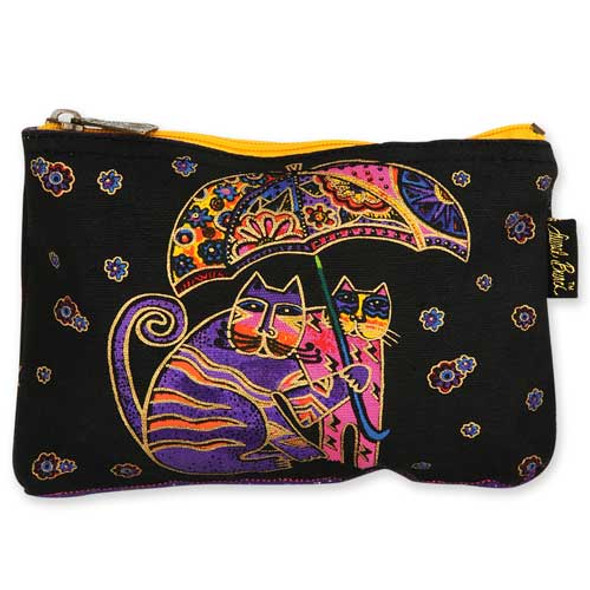 Laurel Burch Cotton Canvas Cosmetic Bag Polka Dot Cats - LB4880C