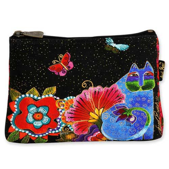 Laurel Burch Cotton Canvas Cosmetic Bag Blossoming Spirits- LB4880F