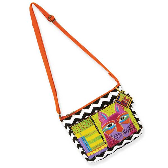 Laurel Burch Whiskered Cats Crossbody Bag Orange LB5320C