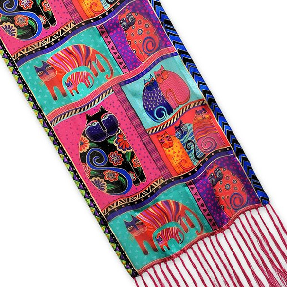 "Laurel Burch Silk Scarf   ""Feline Collage""  with Fringe - LBS171"