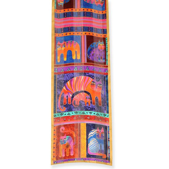 "Laurel Burch Silk Scarf ""Fantastic Feline Totem"" - Cat - LBS183"