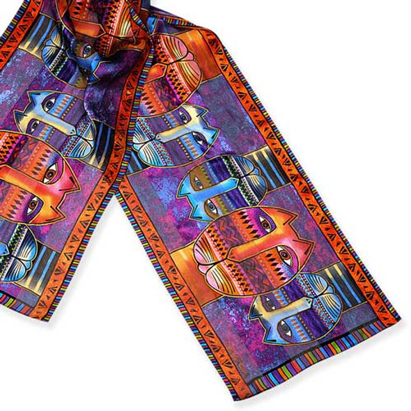 Laurel Burch Classic Silk Fabric Scarf Three Amigos LB192