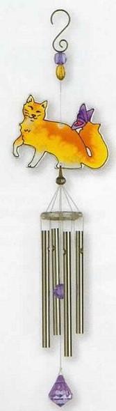 Cat Art Glass Windchimes Orange Cat - WCSSM010