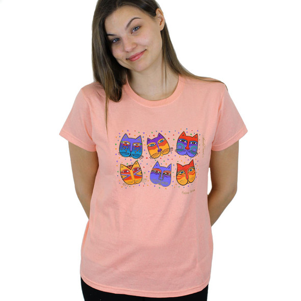 "Laurel Burch Tee Shirt ""Feline Faces"" LBT019"