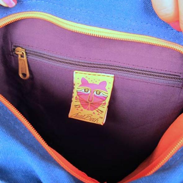 Laurel Burch Blue Azul Cat Shoulder Tote Bag LB5360