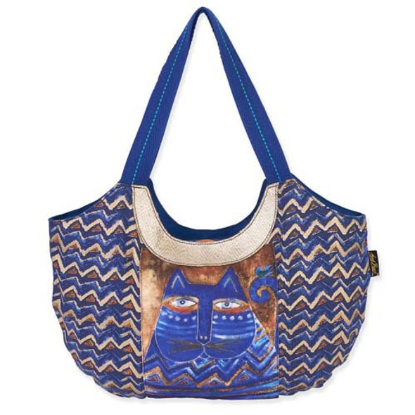 Laurel Burch Large Blue Azul ZigZag Scoop Tote Bag
