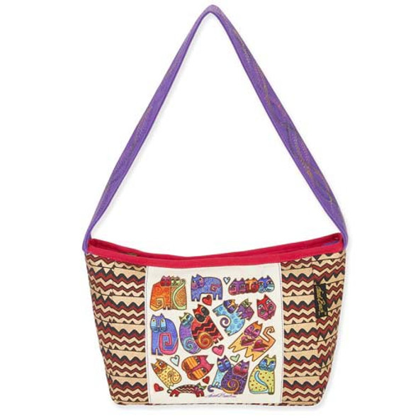 Laurel Burch Karlys Cats ZigZag Medium Shoulder Tote Bag