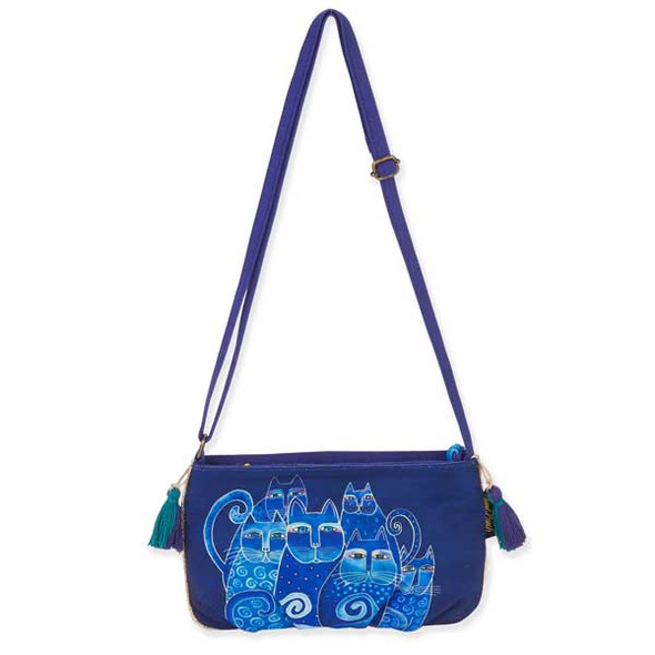 Laurel Burch Feline Crossbody Bag Blue