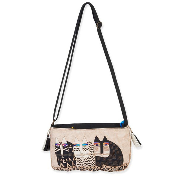 Laurel Burch Feline Crossbody Bag Creme