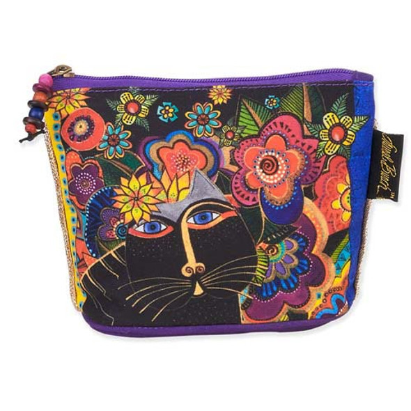 Laurel Burch Feline Minis Cosmetic Clutch Pouch Cat Flower