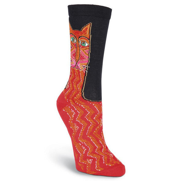 Laurel Burch Tribal Zig Zag Cat Crew Socks Red KBWS15H003