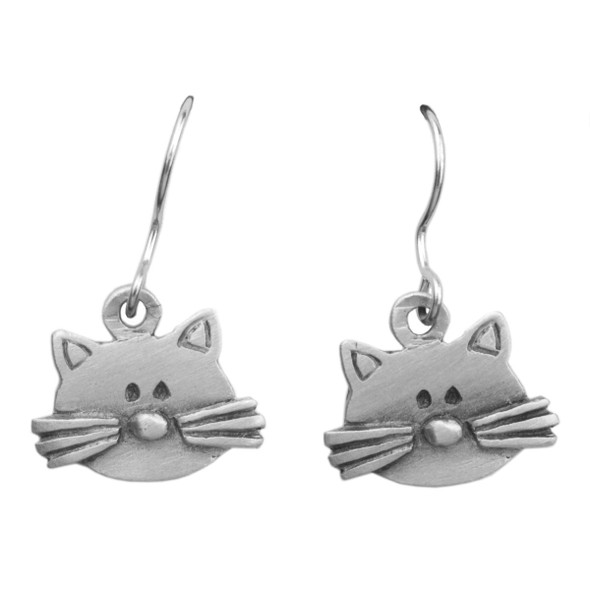 Cat Head Flat with Whiskers Hook Earrings