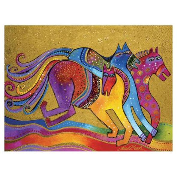 Laurel Burch Canvas Caballos de Colores Horses 12x16 Wall Art LB26007