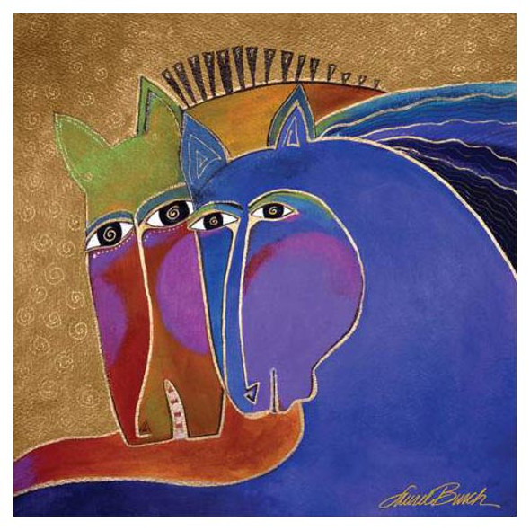 Laurel Burch Canvas Peruvian Mares Couple Horses 15x15 Wall Art LB26012