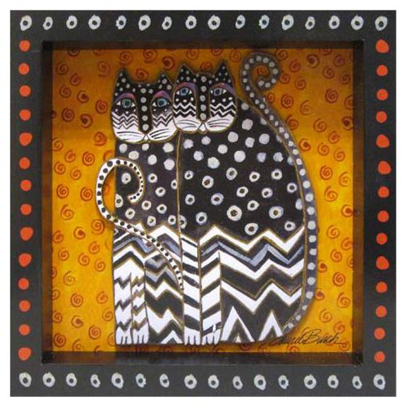 Laurel Burch 3-D Zig Zag Cats 8x8 Wall Art LB26014